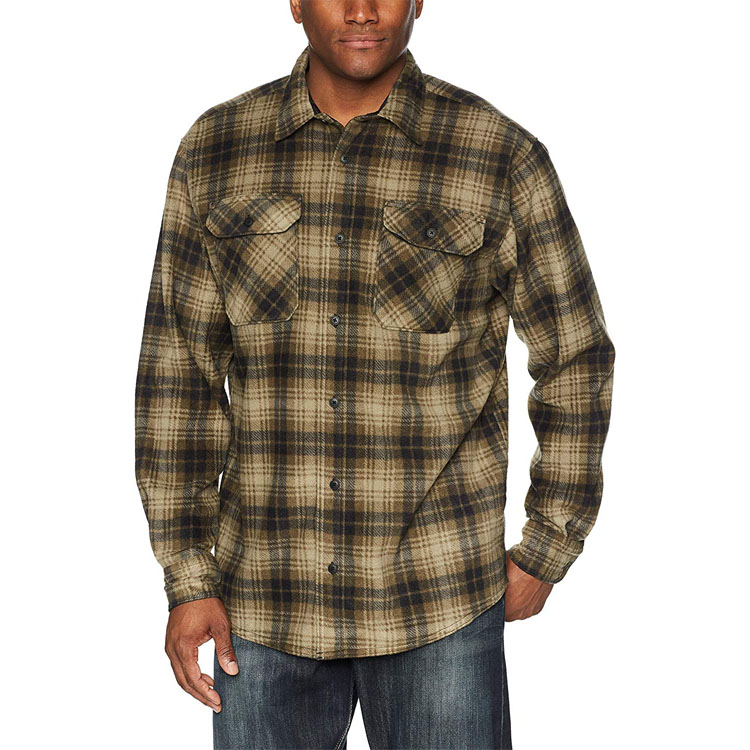 OEM Men's Long-Sleeve Plaid Fleece Shirt cashmere faked thick brushed winter shirt