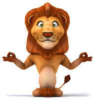 resin Cartoon lion with yoga pose