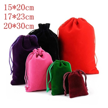 Large Size 15x20cm Velvet Pouches Jewelry Packaging Display Drawstring Packing Gift Bags & Pouches