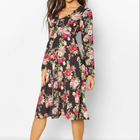 Floral Print High Neck Floral Midi Womens Dresses