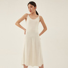 White sleeveless slim calf length leisure vacation Women dress