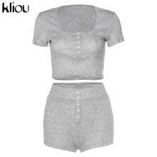 Kliou однотонный серый короткий топ и шорты, комплект из 2 предметов, женские костюмы Повседневная одежда на пуговицах 2020, летняя Новинка, хоро...(Китай)