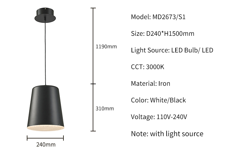 Cheap Price Coffee Shop 20w Black White E27 Suspended LED Rope Pendant Lights