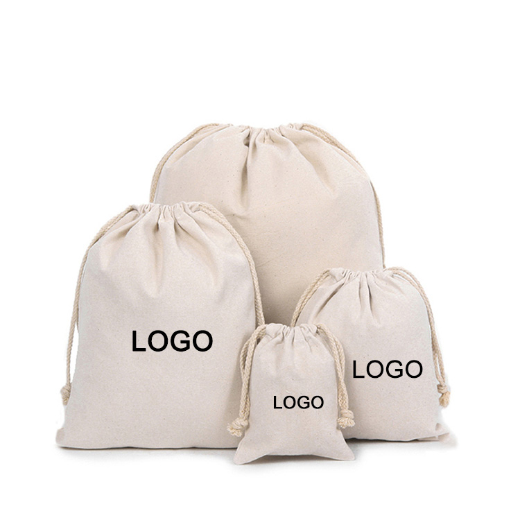 Personalized custom logo printed small canvas pouch cotton jewelry drawstring bag with double string