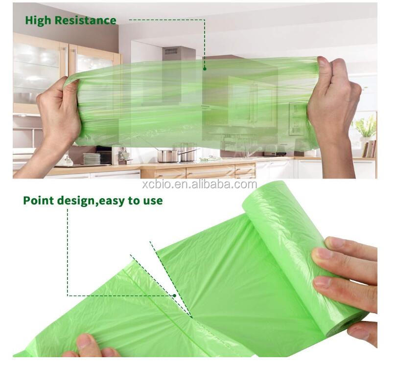 Customized Accept Disposable  PLA  Garbage Collection Bags Biodegradable Compostable 100% Cornstarch Trash  Bags