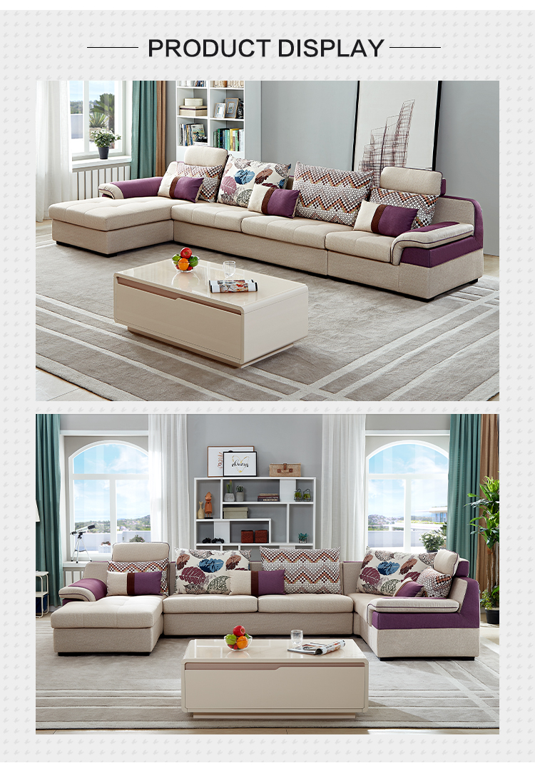 102139 Removable home sectional modern home l shaped fabric livng room sofa