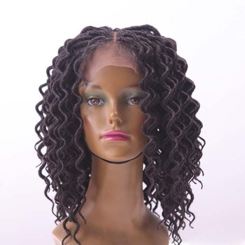 16inch curly twist synthetic hair wig faux loc hand made crochet senegal lace front women braided wigs