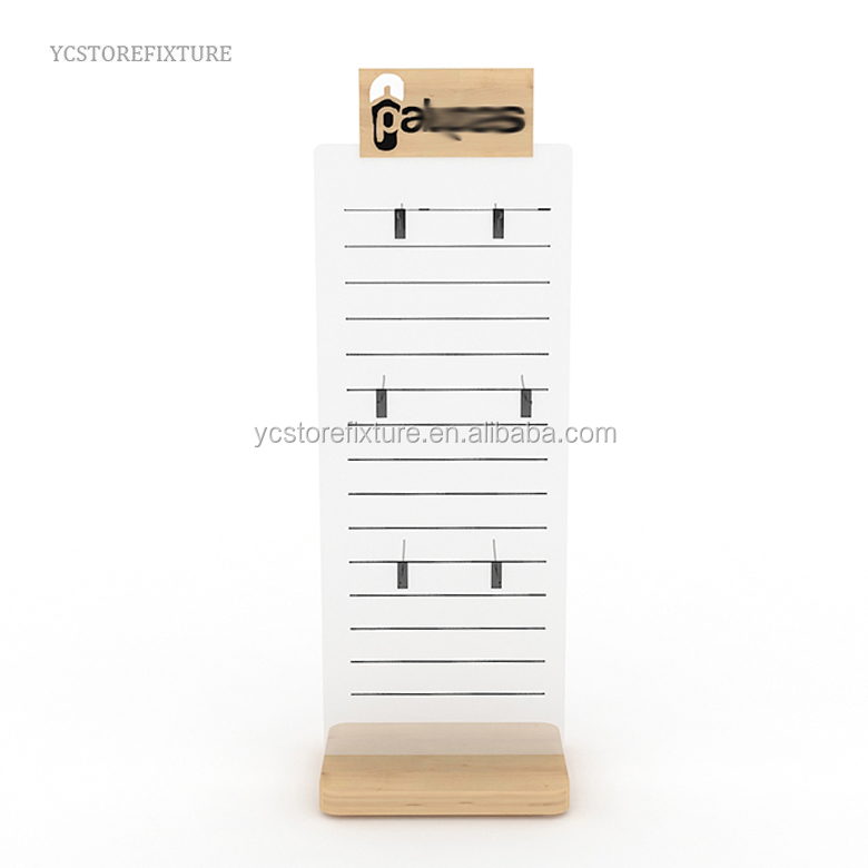 Best quality double sided floor wood display stand for slippers