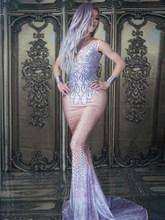 Сексуальное блестящее фиолетовое платье-Русалка с кристаллами и стразами Вечерние платья на День рождения Длинное платье для сцены Костюм ...(Китай)