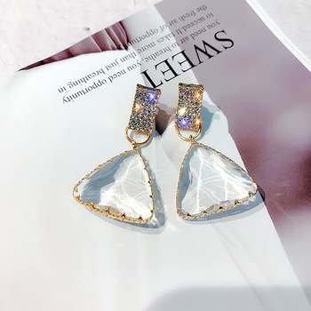 Wholesale jewelry fashion gold plated stud triangle pendant crystal earring