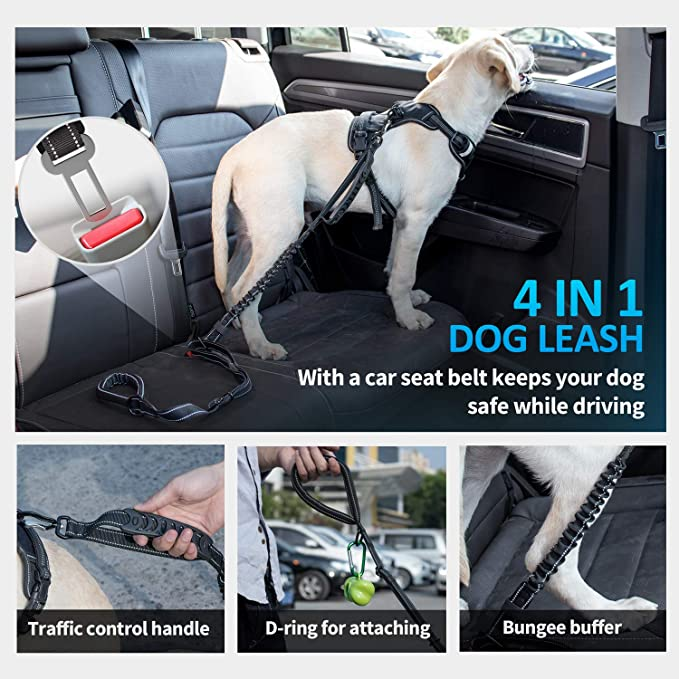 4-in-1 Multifunctional Dog Leash with Car Seat Belt 4-6 FT Strong Bungee Safety Seatbelt Dog Leashes for Medium & Large Dogs