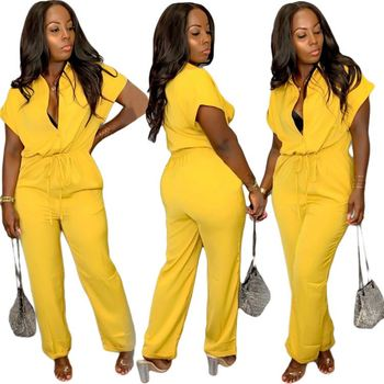 BH9268 Woman Clothing 2019 Yellow Bat Sleeve V-Neck Jumpsuit