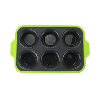 Silicone 6 Cup cake Pan bakeware with a reinforced stainless steel frame for strength.