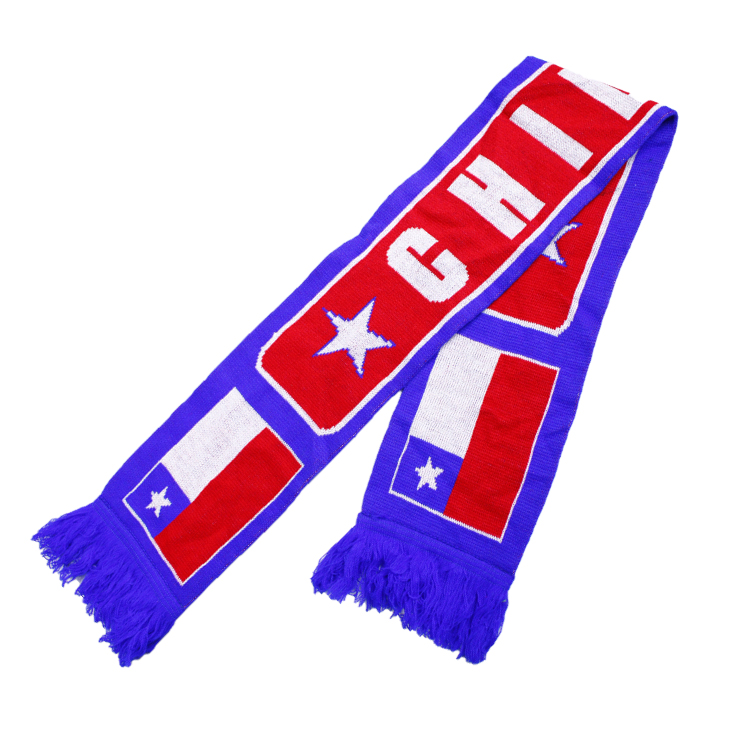 Factory OEM Promotional Custom Jacquard Sports Scarf Football Team Wholesale Knitted Football Scarf With Logo