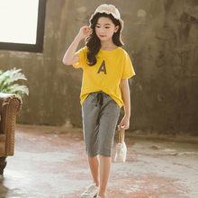 Детская летняя одежда с буквенным принтом, одежда для девочек-подростков, футболка + штаны, детская одежда с клетчатым рисунком для девочек, ...(Китай)