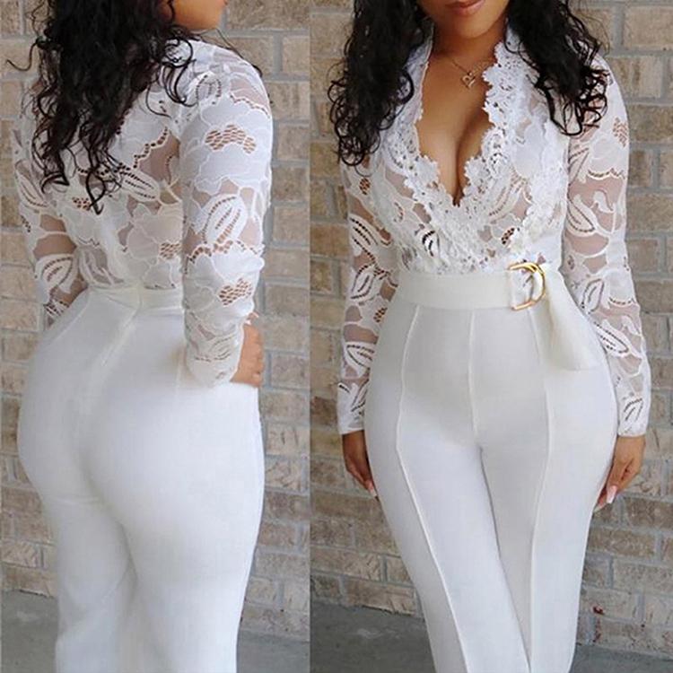 Heißer Verkauf Sexy V Neck Transparente Spitze Taille Gürtel Langarm Weiß Overall Frauen Overall und Strampler 2019