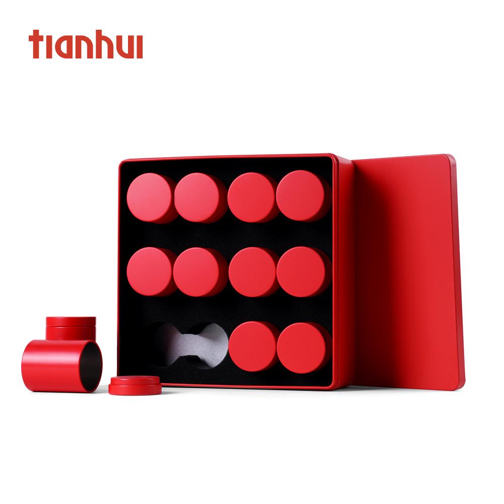 tea tin metal tinplate gift tin box with 12 tin canisters