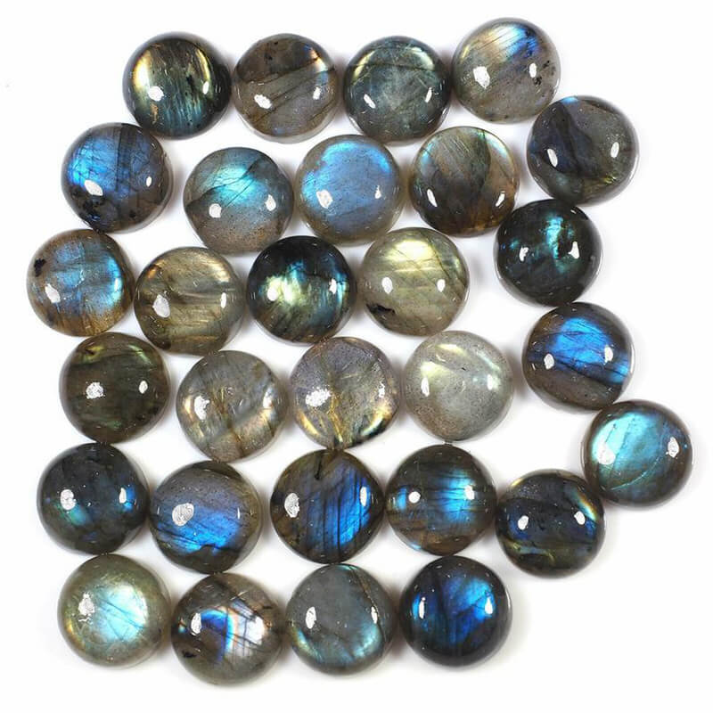 Natural Labradorite Round Flatback Cabochon, 8-20mm Sizes Custom Available