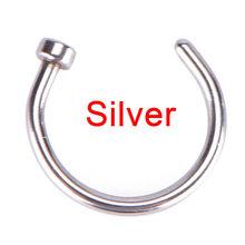 1 шт., ювелирные изделия для женщин, золотые, серебряные ювелирные изделия для тела, поддельный пирсинг из медицинской ноздри, титановые коль...(China)