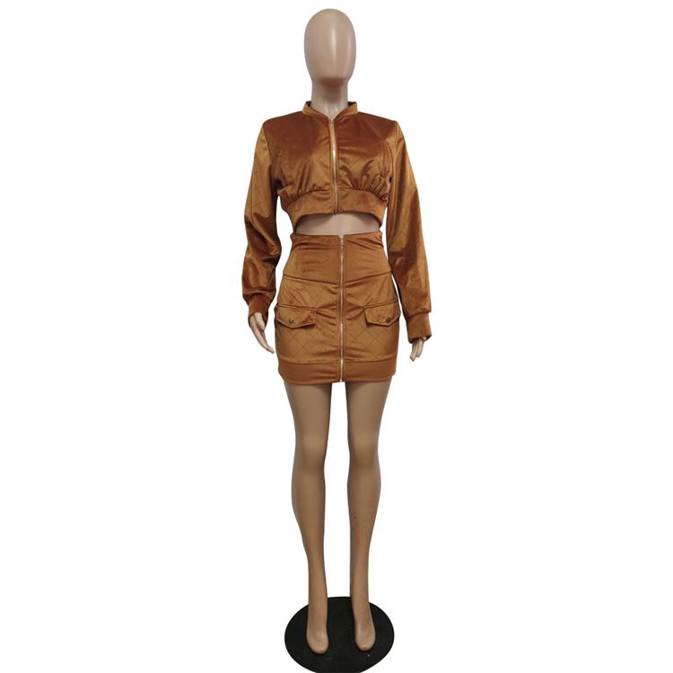 * GC-T126 2020 Новые поступления женские сексуальные двухсекционные юбки набор сплошной цвет молния Мода Оптовая продажа женская одежда комплект одежды