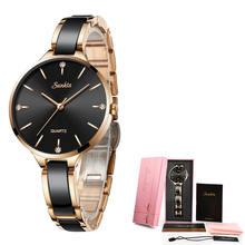 SUNKTA, роскошный подарок, женские часы с кристаллами, водонепроницаемые, розовое золото, стальной ремешок, женские наручные часы, Топ бренд, ча...(Китай)