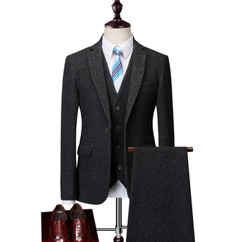 wholesale Latest Design Slim Fit 3 Piece Men Suit Tweed Suit For Men