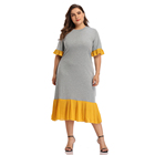 New Arrival Gray And Yellow Splice Short Sleeve Fashion T Shirts Plus Size Women Casual Dresses