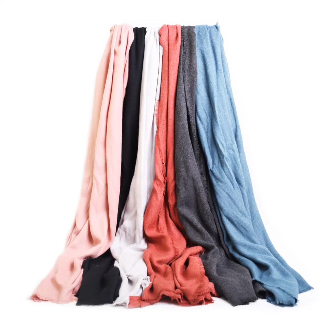 ファッションヘザーソリッドスーパーソフト起毛カスタム居心地の良い暖かい女性ショールスカーフパシュミナ