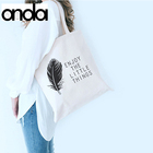 Custom logo printed natural eco blank cotton canvas tote mini bag white canvas bag