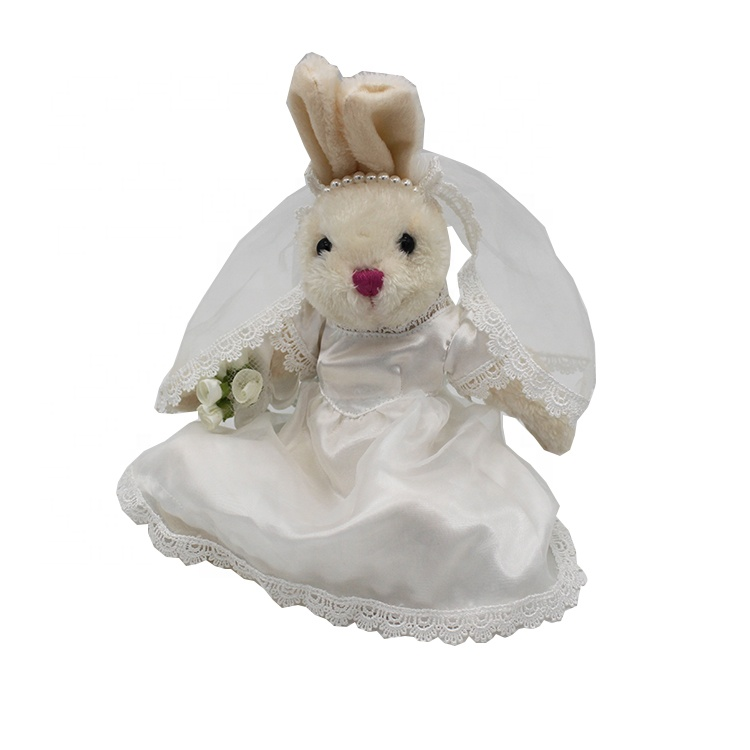 Wholesale Valentine's Day wedding gift soft toys bunny Plush white <strong>rabbit</strong> with Wedding dress