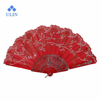 Chinese Style Dance Fan Lace Silk Folding Hand Held Flower Fan for Wedding Party Supplies