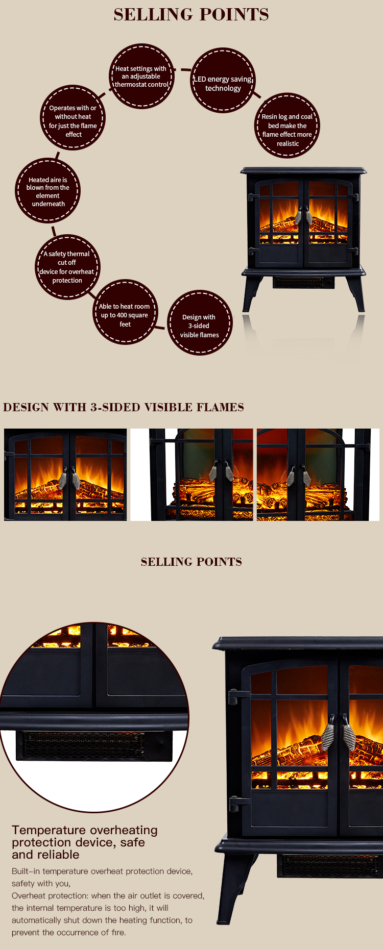 25 inch Black 3d View Sided Decor Flame Effect Electric Fireplace Stove Heater