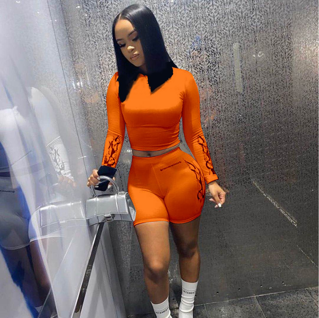 X00131M 2020 summer women clothing 4colors crop top Tshirt with shorts two piece outfit 2 piece short set