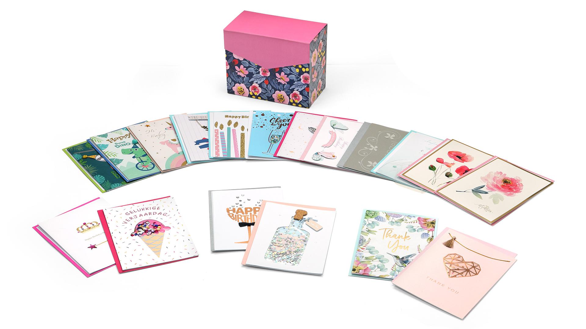 24 toptan el yapımı kutulu tebrik kartları Set, toplu tüm durum çeşitli tebrik kartları zarflar ile