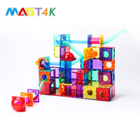 New DIY 81pcs magnetic tiles building blocks school kids magnetic toys with running ball