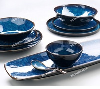 Nordic Style Crockery Restaurant Food Dishes Dinnerware Sets Black