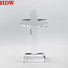 Crystal Gift Crystal 2020 Pujiang Wholesale K9 Crystal Glass Cross Custom Clear Crystal Cross Religious Awards With Stand For Souvenir Gift