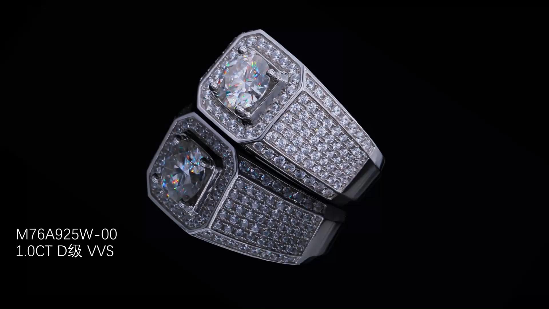 준수 웨딩 1Ct EF 컬러 Moissanite 다이아몬드 925 스털링 실버 패션 반지 게이 손가락 Moissanite 약혼 반지