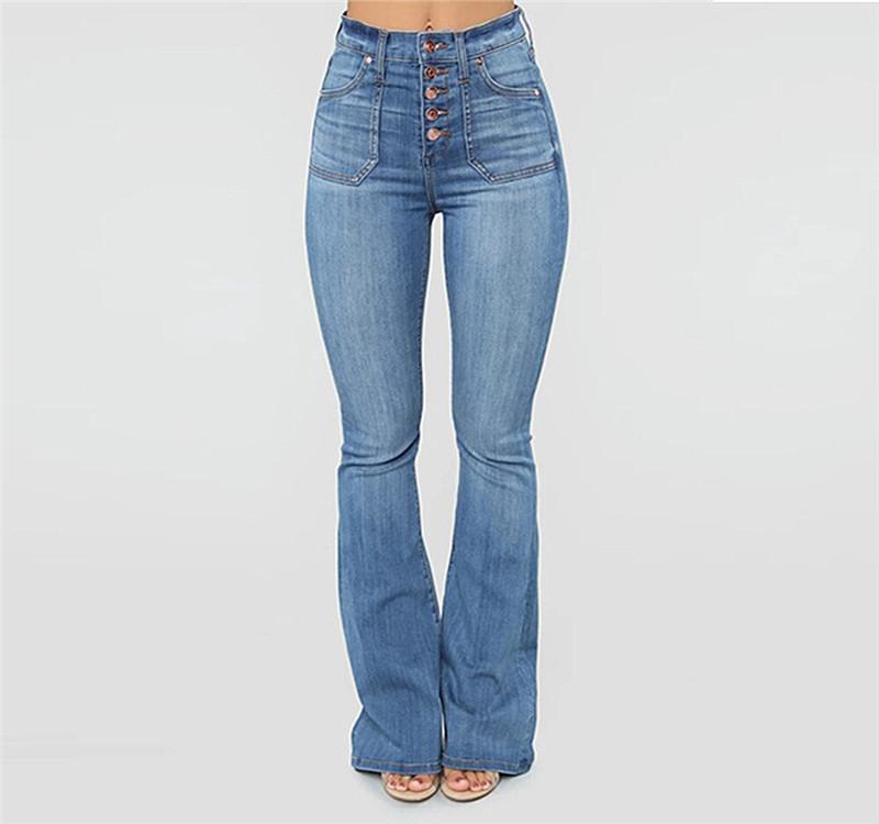 Women Denim Pants Button Up Mid Waist Flare Jeans Ladies Retro Pants Female Trousers Plus Size Bell-Bottom Pants