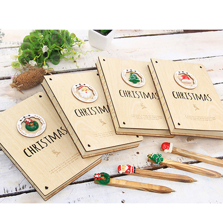 Christmas Promotion Gift Custom Printed Logo Eco-friendly Fancy Korean Style Bamboo Cover School Eco Notebook With Pen
