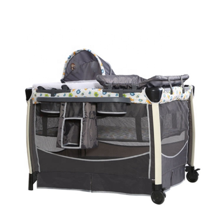 Comfortable Baby Folding Playard Baby Foldable Travel Cot With Wheels