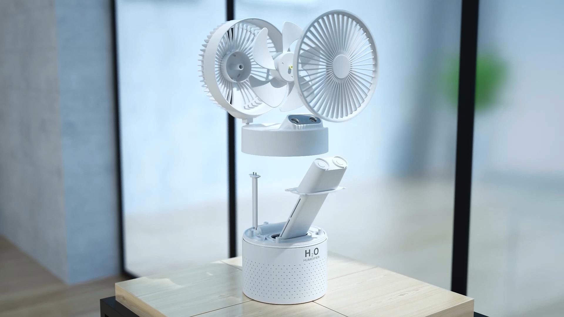 2020 nuovi Arrivi 1.1L Capacità Umidificatore Ventilatore 2 In 1 4000mAh Ricaricabile Portatile Ventilatore della Foschia Per Office Camera Car