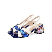 MLJUESE/2020 женские босоножки из коровьей кожи с открытым носком; Цвет синий; Пляжные сандалии на высоком каблуке с кристаллами; Вечерние свадеб...(Китай)