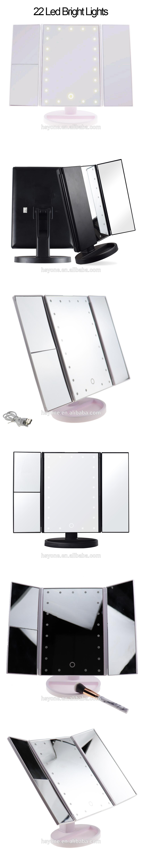 Быстрая доставка акриловое зеркало для макияжа 3 способа 2x освещенное