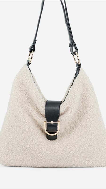 Autumn and Winter New Style Retro Lamb Hair Handbags Large Capacity Simple Plush Handbag Supply Japanese Style Shoulder Bag