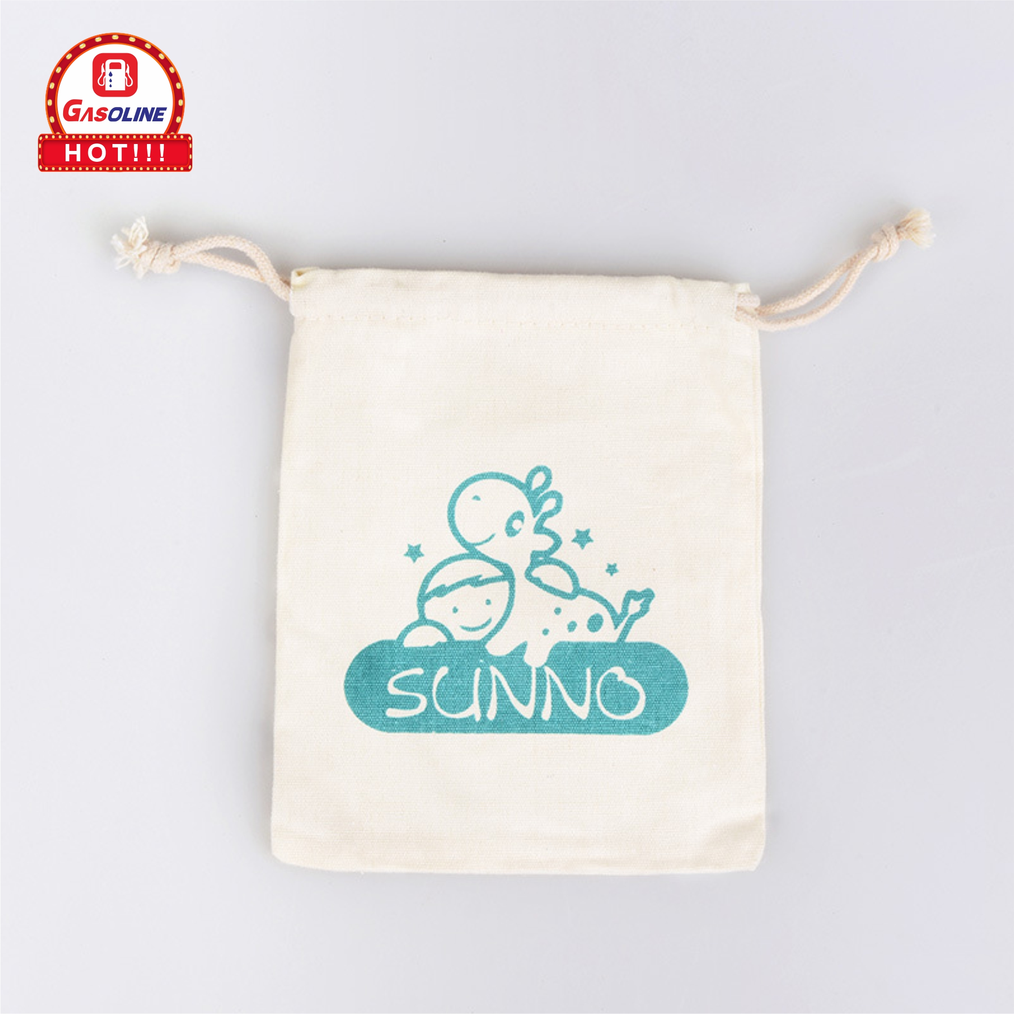 Durable high quality custom logo printed organic pure cotton canvas pouch jewelry storage drawstring bag jewelry pouch