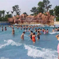Durable wave machine pool with artificial wall mounted swimming pool wave machine