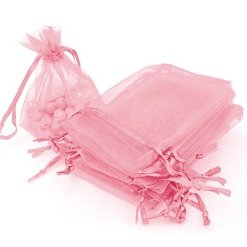 3.6 x 4.8 inch Pink Organza Gift Bag with Drawstring Pouches Jewelry Christmas gift bag