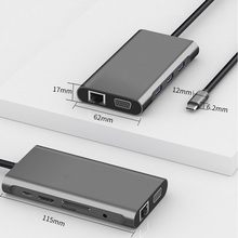 10 In 1 USB C HUB çoklu USB 3.0 hdmi adaptörü Dock MacBook Pro aksesuarları için C tipi 3.1 Splitter 3 port USB C HUB
