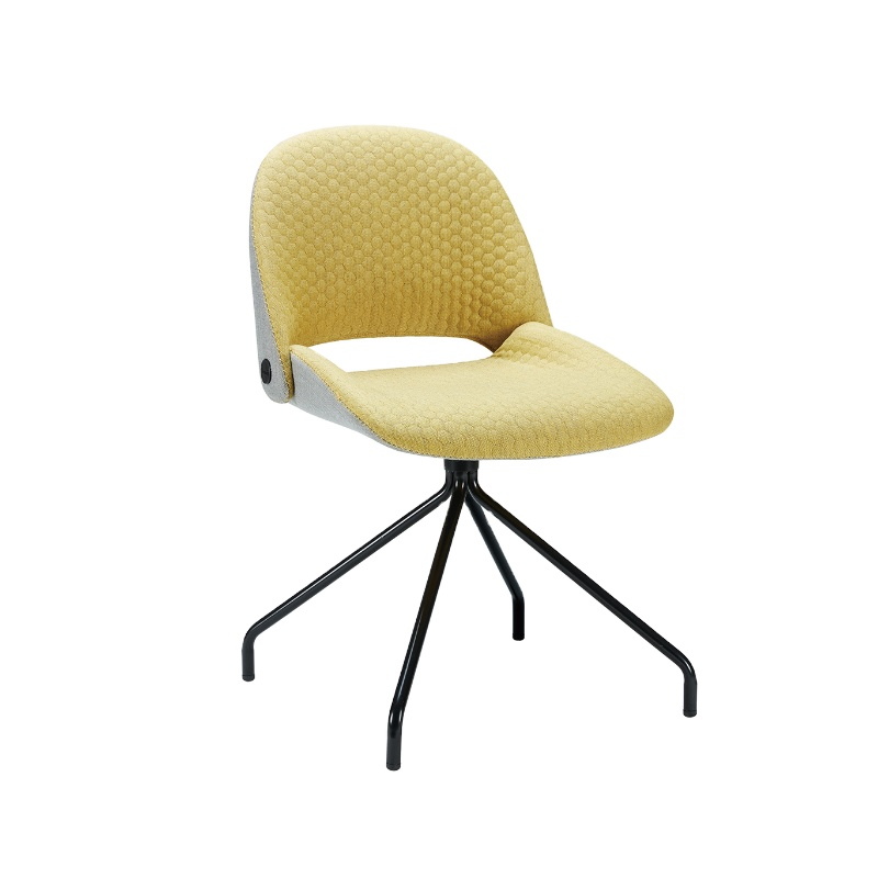 Upholstered lounge four-leg metal frame modern office fabric dining chair